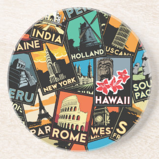 Travel posters retro vintage europe asia usa coaster