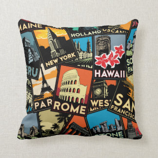 Travel posters retro vintage europe asia usa cushion