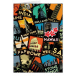 Travel posters retro vintage europe asia usa greeting card