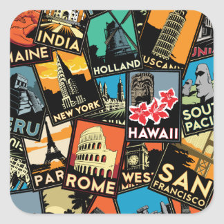 Travel posters retro vintage europe asia usa square sticker