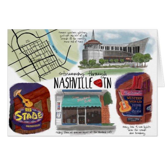 Travel Sketch Notecard Strumming through Nashville
