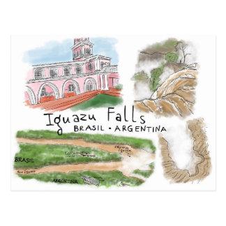 Travel Sketch Postcard Iguazu Falls Brasil