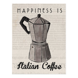 Travel Sketch Postcard: Italian Coffee Press Postcard