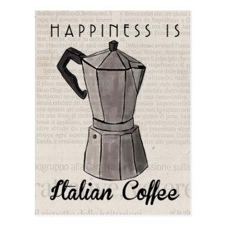 Travel Sketch Postcard: Italian Coffee Press Postcard