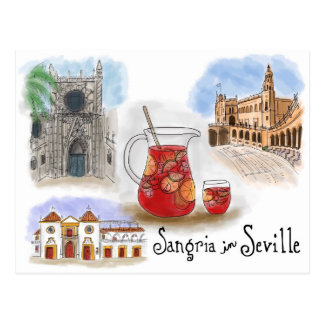 Travel Sketch Postcard: Sangria in Seville Spain Postcard