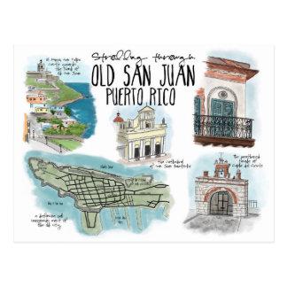 Travel Sketch Postcard: Strolling Old San Juan Postcard