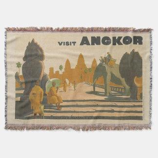 Travel Souvenir Angkor Wat Cambodia Vintage Throw Blanket