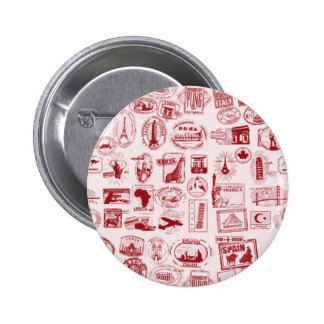 Travel Stamps Pattern 6 Cm Round Badge