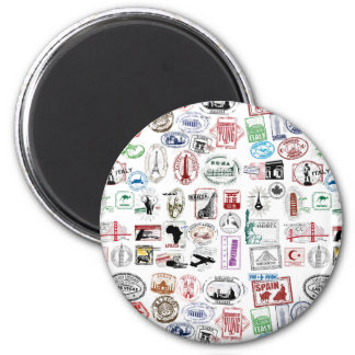 Travel Stamps Pattern 6 Cm Round Magnet