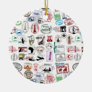 Travel Stamps Pattern Christmas Ornament