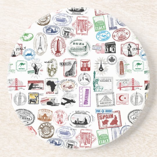 Travel Stamps Pattern Coaster