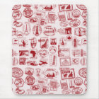 Travel Stamps Pattern Mouse Mat