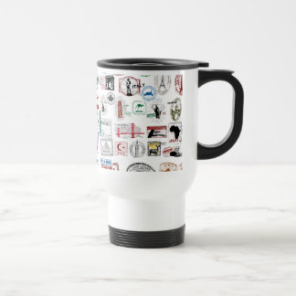 Travel Stamps Pattern Stainless Steel Travel Mug