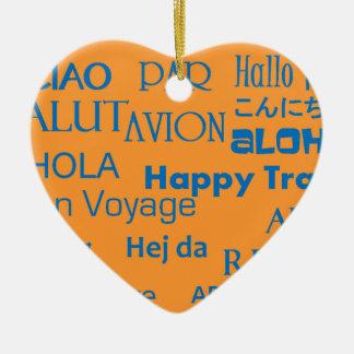 Travel Texts Ceramic Heart Decoration