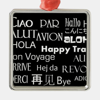 Travel Texts Silver-Colored Square Decoration