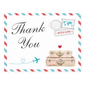 Travel Thank You Card, Aeroplane Airline Wedding Postcard