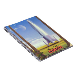 Travel the Universe retro space art. Spiral Notebook