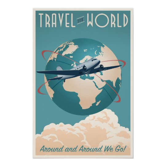 Travel the World - in vintage style Poster