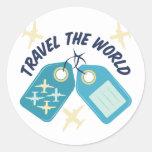 Travel The World Round Sticker