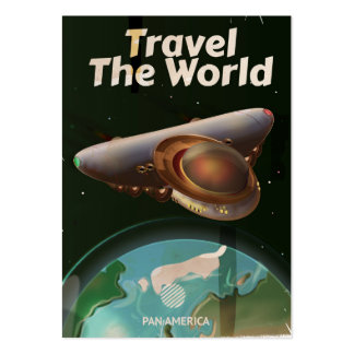 Travel the World Science fiction retro poster Pack Of Chubby Business Cards
