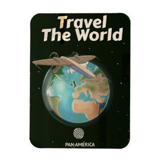 Travel the World Science fiction vintage poster Magnet