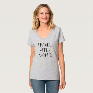 Travel The World Womens V-Neck T T-Shirt
