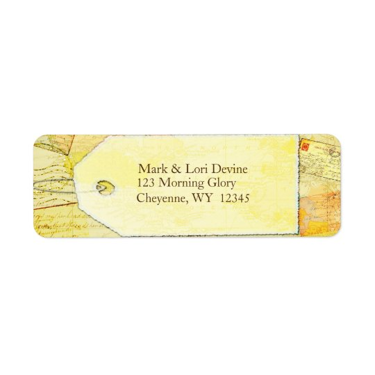 Travel theme in cocoa and cream address labels.