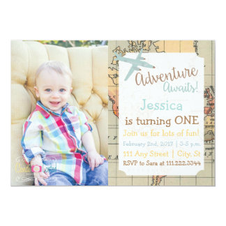 Travel Themed Birthday Invite with Photo