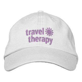 Travel Therapy Embroidered Hat in White & Lavender