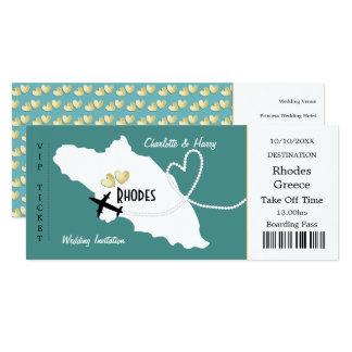 Travel Ticket Boarding Pass Rhodes Greek Wedding Card