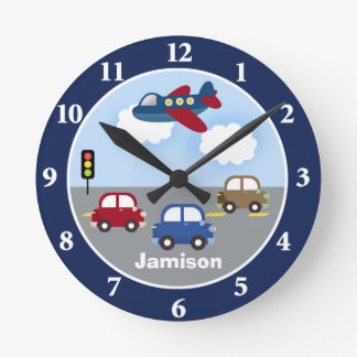 Travel Time Transportation Theme Custom Wall Clock