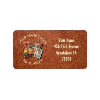 Travel Tours Agency Vintage Postcards Custom Name Address Label