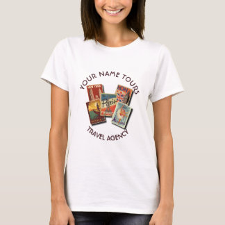 Travel Tours Agency Vintage Postcards Custom Name T-Shirt
