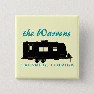Travel Trailer RV Silhouette Graphic 15 Cm Square Badge
