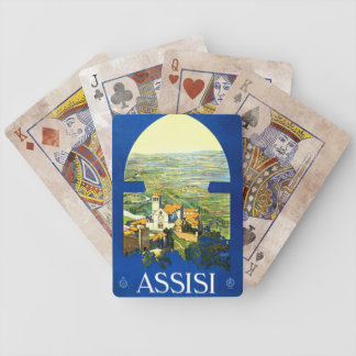 Travel Vintage Poster Assisi Italy Bicycle Playing Cards
