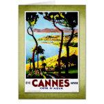 Travel Vintage Poster Cannes France Greeting Card