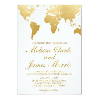 Travel Wedding Invitation | Gold World Map
