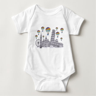 Travel with Air Balloons Lovely Sketch Baby Bodysuit