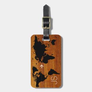 Luggage bag tags zazzle uk travel wood world map custom luggage tag gumiabroncs Gallery