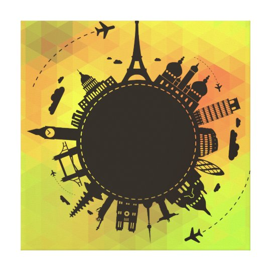 Travel World Landmarks Cool Illustration Canvas Print