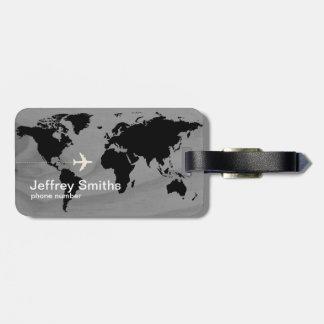 travel world-map custom black & white luggage tag