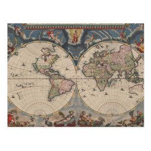 Travel World Map Vintage Art Globe Postcard