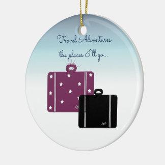 Traveler With Suitcases Round Ceramic Decoration