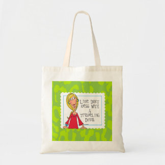 traveling diva canvas tote bag