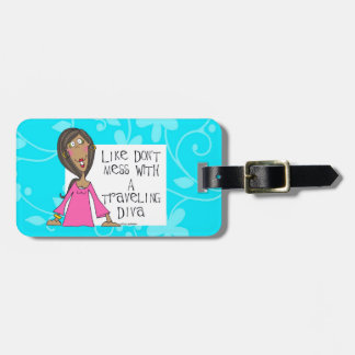 traveling diva luggage tag blue
