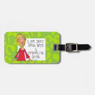 Traveling Diva Luggage tag green