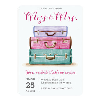 Traveling from Miss to Mrs. Pink Bridal Shower Card