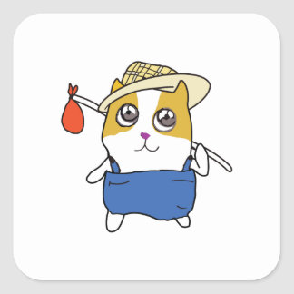 TRAVELING HAMSTER SQUARE STICKERS