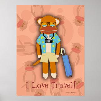 Traveling Sock Monkey Customizable Poster