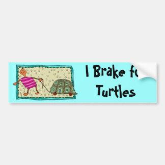 Traveling Turtle - I Brake for Turtles Bumper Sticker